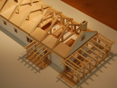 Queen Truss House, basswood model