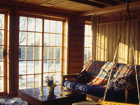 Vermont Cabin living room + passive solar