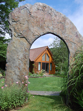 Hapgood residence view through stone arch